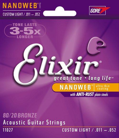 Set strun za akustično kitaro Elixir Nanoweb 011-052 Custom light