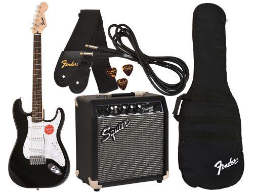 Kitarski set: električna kitara Squier by Fender Mini Strat Pack IL BLK z ojačevalcem in dodatnim priborom