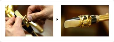 Uporaba objemke za pritrditev jezička na ustnik