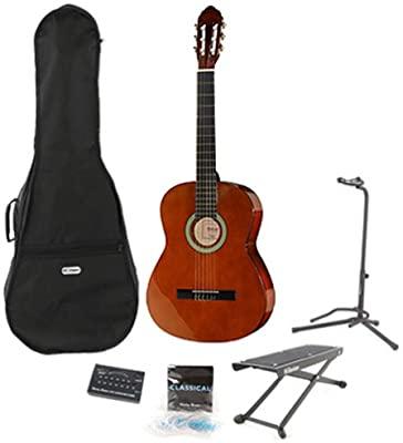 Kitarski set: klasična kitara 3/4 s torbo, stojalom, pručko, uglaševalec in strunami Startone CG851