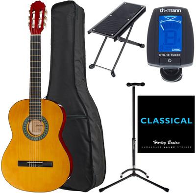 Kitarski set: klasična kitara 4/4 s torbo, stojalom, uglaševalcem, pručko in strunami CG851 Startone
