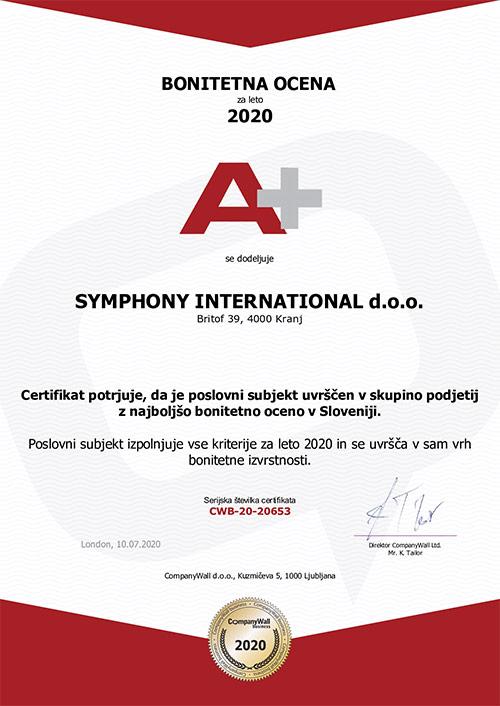 Bonitetna ocena A+ (Symphony International d.o.o.)