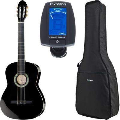 Kitarski set: klasična kitara 4/4 s torbo in uglaševalcem CG200-BK Harley Benton