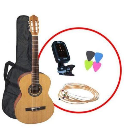 Kitarski set: Klasična kitara C-100N NAT s torbo, uglaševalcem, strunami in drsalicami Flight